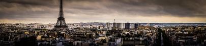 paris skyline - eiffel tower as seen from arc de triomphe