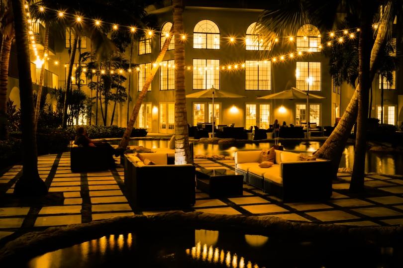 courtyard night scene beach resort marriott