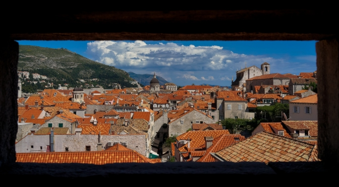 Majestic old city of Dubrovnik, Croatia, as seen through a gun turret