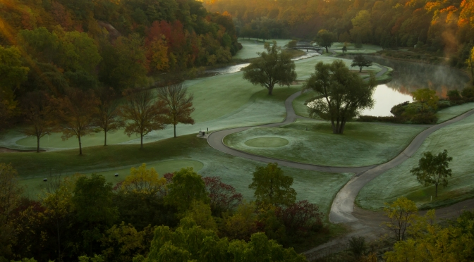 Sunrise on the Abbey:  Famous Glen Abbey Golf Course with frost on the greens and mist in the air