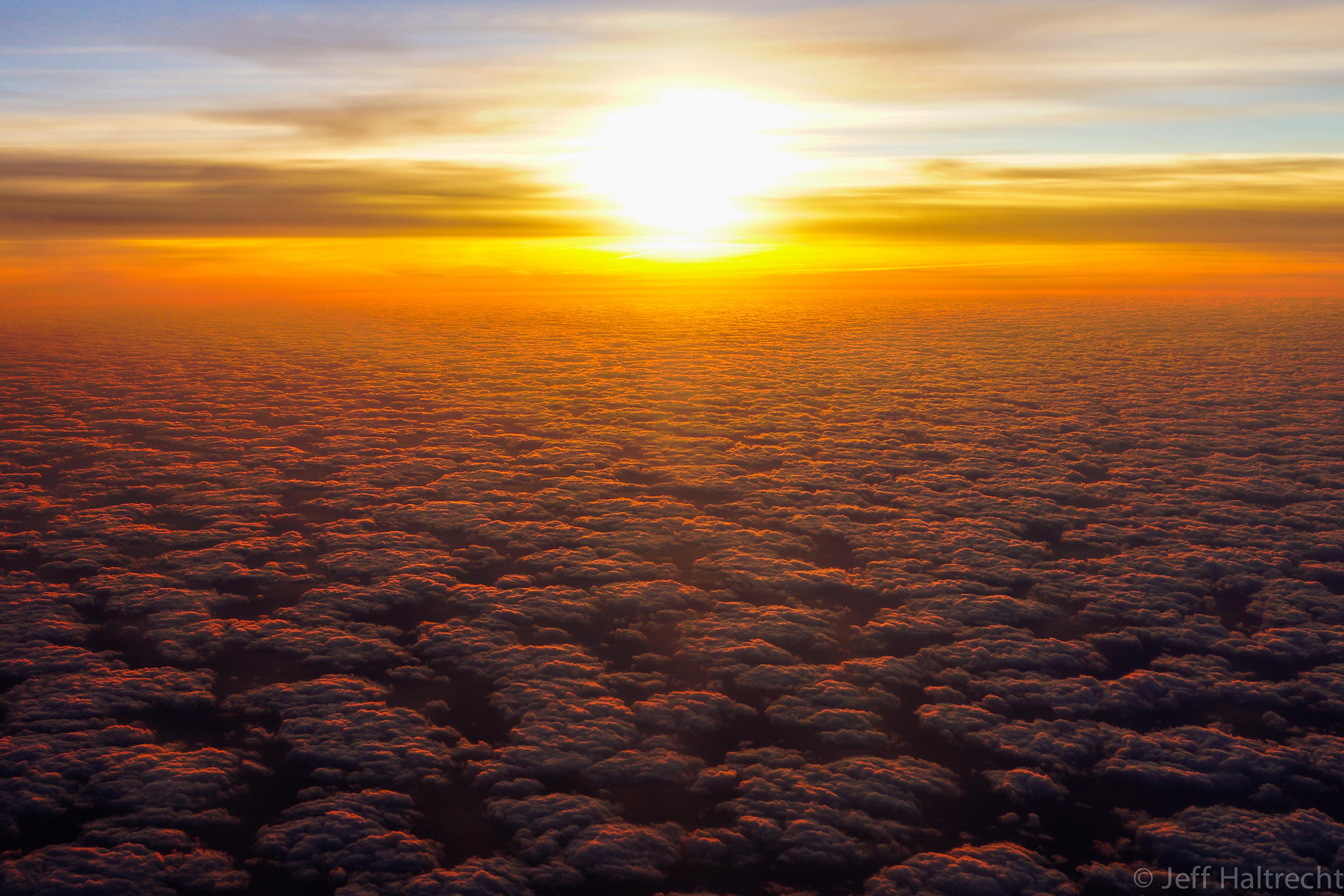 sunset at thirty five thousand feet on way to aruba