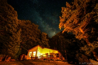 milky way over cottage on bay lake muskoka