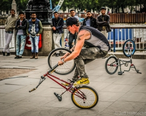 upside down bicycle riding in london england