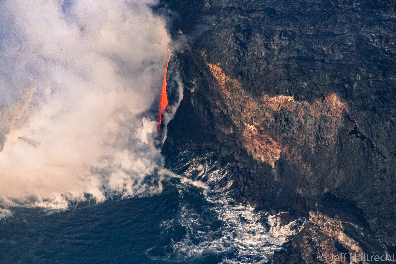 lava waterfall hawaiis kilauea volcanos kamokuna ocean entry