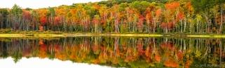 fall colors mirrored on echo lake, lake of bays township, muskoka, ontario, canada