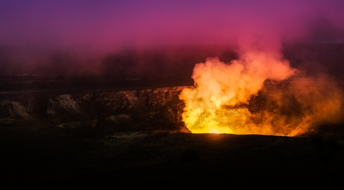 Kilauea's Burning Crater at Night