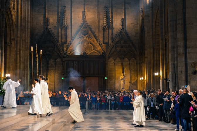 Notre Dame Cathedral Commencement of Mass:  In memory of April 15, 2019 fire