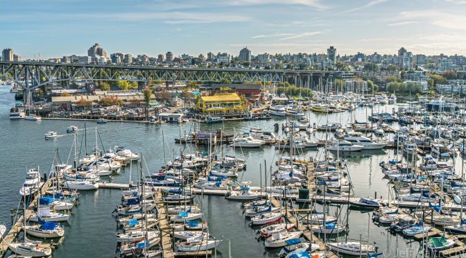 Vancouver's Granville Island and Bridges Restaurant from Burrard Street Bridge