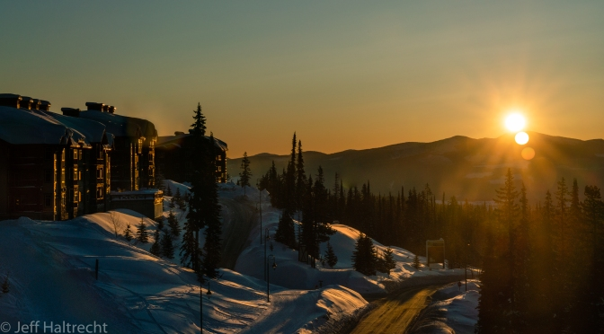 A Monashee Mountain Range Sunrise at Big White The Day Before Ski Hill Closes