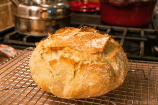 homemade bread bakery style from a red dutch oven