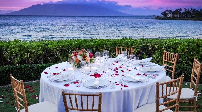 Maui's Pu'u Kukui volcanic mountain summit is your dinner ocean view at sunset