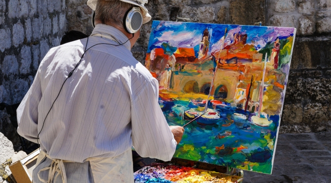 Painting the marine harbour, oil on canvas, Dubrovnik, Croatia